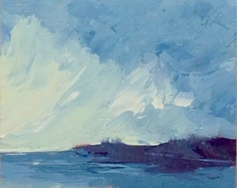 MINI 1634, 0il painting original landscape, miniature art, 100% charity donation, oil painting on cardboard