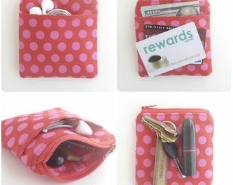 polk dot zipper pouch. red pink card cash minimalist wallet. earbud case. teen tween. small cute pouch