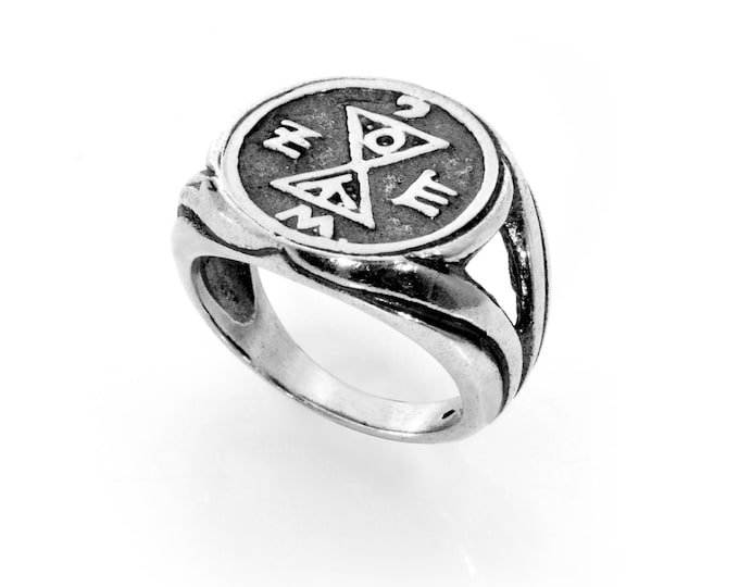 Matching & Partner Finding King Solomon 925 Sterling Silver Amulet Ring - Choose Size