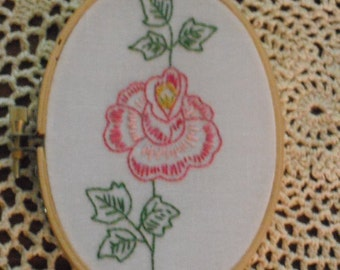 "Hand Embroidered Pink Rose in Hoop Frame- mini 3 1/2"" x 5 1/2"""