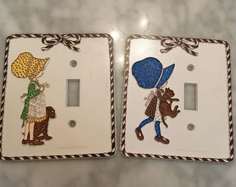Vintage Holly Hobbie Light Switch Plate Cover - Cat and Puppy
