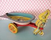Vintage Wyandotte Easter Bunny Rabbit Tin Litho Cart Toy