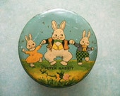 Vintage Easter Tin Litho Candy Container Tindeco Shabby Rusty Anthropomorphic Bunny Rabbits