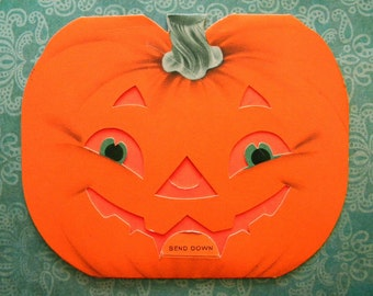 Vintage Halloween Card with Jack O Lantern Face