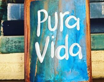 NEW Design Bohemian Pura Vida Beach Shelf Sitter Summer Vintage inspired Sign Blue Aqua Turquoise Wood RUSTIC and Primitive Beach Surfer Gir