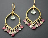 GORGEOUS Natural Pink Sapphire and Prehnite Chandelier Earrings- OOAK Gold Filled by Yania Creations