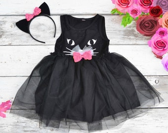 Black Cat Tutu Dress Halloween Costume Kitty Cat Ears Headband Tulle Girls 2t 3t 4t 5 6 Pink bows