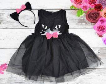 Black Cat Tutu Dress Halloween Costume Kitty Cat Ears Headband Tulle Girls 2t 3t 4t 5 6 Pink bows