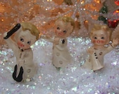 3 vintage choir figurines, christmas decorations, musical instruments, angelic choir, cherubic, blond haired, rosy cheeked angels, japan