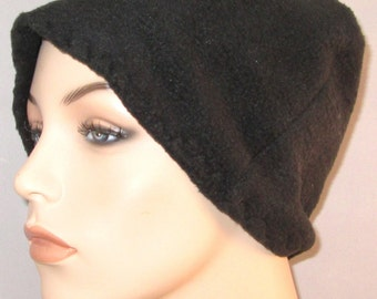 Black  Anti Pill Fleece Hat, Winter Hat, Cancer, Chemo Hat, Alopecia