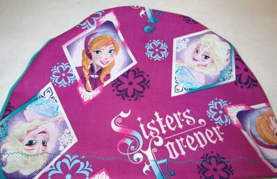 Kid's  Chemo Hat,Sisters from Frozen Dk Rose  Kid'sCancer Cap, Alopecia, Sleep Cap Free Ship USA