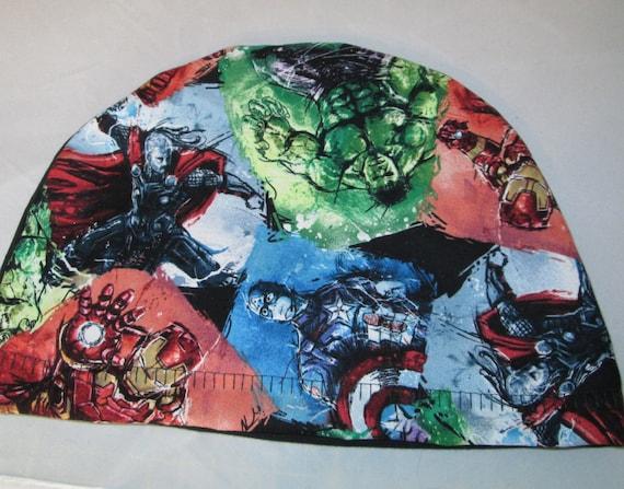 Kids FREE SHIP USA Avengers   Children Kids Size Lightweight  Hat -Chemo, Cancer, Alopecia,Sleep Cap, Summer Chemo Hat