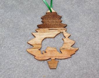 Wood Christmas Tree Dog Ornament -  Collie