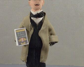 Hercule Poirot- Doll Miniature- Famous Detectives- Unique Art- Agatha Christie-Mystery Solver
