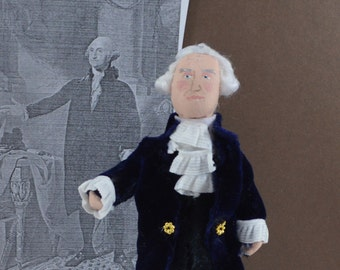 George Washington Doll Miniature American President Colonial Art Collectible