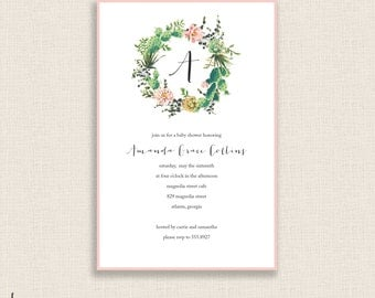CACTUS WREATH - DIY Printable Invitation - Baby Shower - Calligraphy - Digital Files - Floral - Monogram