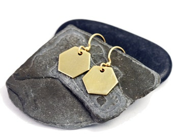 Gold Brass Hexagon Earrings, Geometric Jewelry, Modern Minimalist Style Dangle Earrings