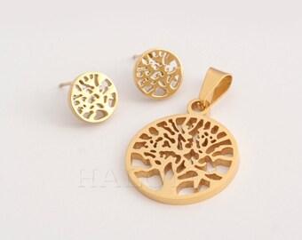 Tree Pendant and Stud earring Set Stainless Steel EX064