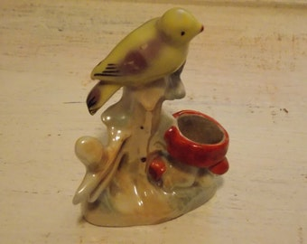 Vintage Porcelain BIRD PINCUSHION Colorful Sewing Accessory