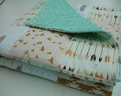 Born Free  Mint and Gold Minky Patchwork Blanket You Choose Size MADE TO ORDER No Batting