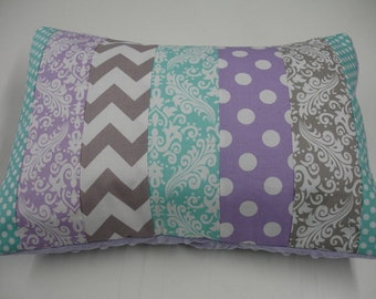 Lavender Aqua and Gray Chevron Damask and Dots Strip-Style Patchwork Pillow Sham
