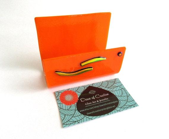 Business card holder fused glass orange artistic handmade for Orange business card holder