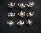 10  Solid Teapot Charms Silver Tone Metal 15mm