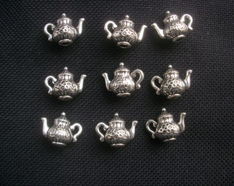 8 Solid Teapot Charms Silver Tone Metal 15mm