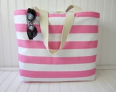 Pink Striped Beach Bag - Pink Striped Beach Tote - Striped Beach Tote Bag