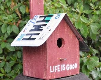 Rustic Birdhouse - Primitive Birdhouse - Hanging Birdhouse - License Plates Birdhouse - Recycled Birdhouse