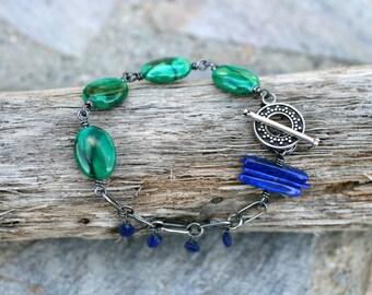 Malachite and Lapis Lazuli Gemstone, Oxidized Sterling Silver Wire Wrapped Bracelet, Blue and Green Gemstone Handmade Bracelet