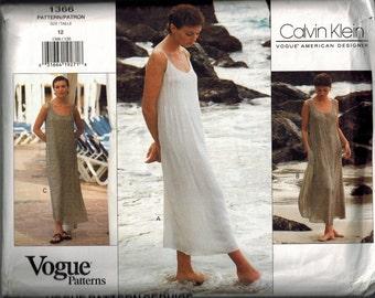 1994 Vogue 1366 Vogue American Designer Calvin Klein Dress Sewing Pattern Size 12 UNCUT Sun dress Tucks