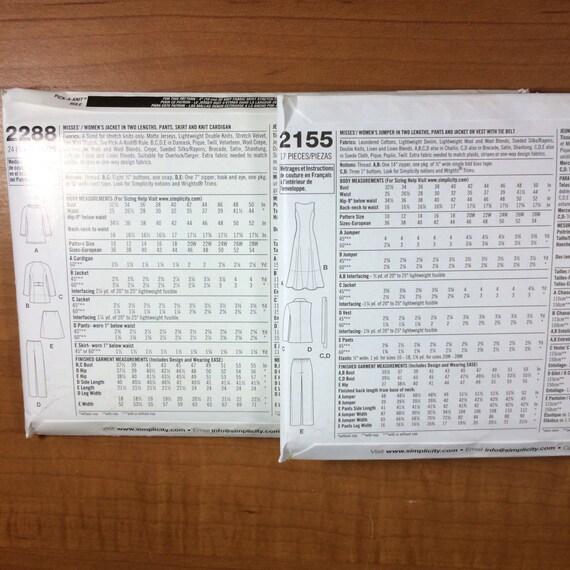 Simplicidad 2288 2155 lote de 2 coser patrones tamaños 10-12-14-16 ...