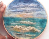 "Embroidery Hoop Art Seascape Ocean Sea Waves Needle Felting 6"" READY to SHIP"