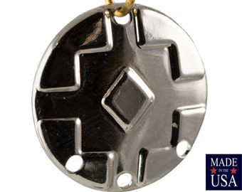 4 Hole Silver Plated Southwestern Drop / Pendant 17mm (6) mtl486G
