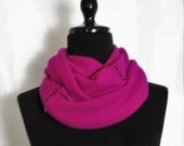 Infinity Cashmere Wool Scarf made from a magenta sweater