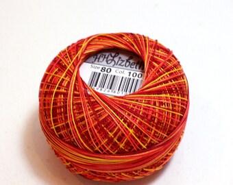 Tatting Thread, Lizbeth Size 80 Cotton Crochet Thread, Falling Leaves, Color number 100, Orange Thread