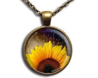 SALE - Sunflower Rising - Glass Dome Pendant or with Chain Link Necklace NT119