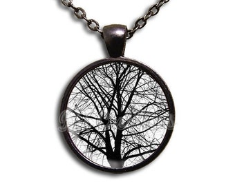 20% OFF - Tree Winter Nature - Round Glass Dome Pendant or with Necklace by IMCreations - NT113