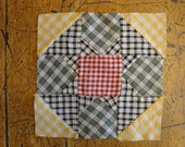 Old Homespun Fabric Quilt Square | Unfinished Antique Quilt Square | Vintage Homespun Quilt Piece | LISTING is for 1 QUILT PIECE