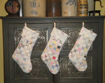 Old Quilt Stocking | Vintage Quilt Stocking | Christmas Stocking With Vintage Crochet Cuff | Listing Is For 1 Stocking