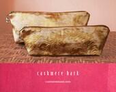 SILK BROCADE Makeup and Pencil Bags Gold Peach SET of 2