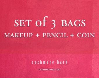 SET of 3 BAGS Makeup Pencil Coin
