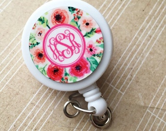 Monogrammed Retractable ID Badge Holder, Personalized Name, Floral pattern, badge reel