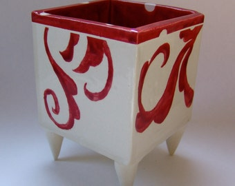 whimsical pottery Dish:) white polka-dots and RED hand-painted scroll pattern, Planter, coffee pod holder, scrunchy holder