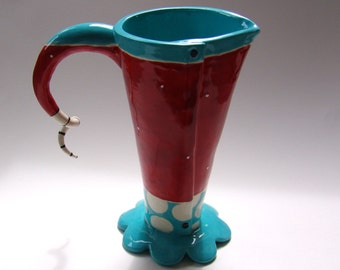 whimsical pottery Vase or Pitcher, turquoise & red polka-dot colorful ceramics, Dr Seuss home decor