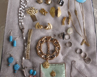 Destash Vintage Lot 34 Items Costume Jewelry Beads Necklaces Earrings Bracelets Hair Clips Pins FREE US SHIPPING