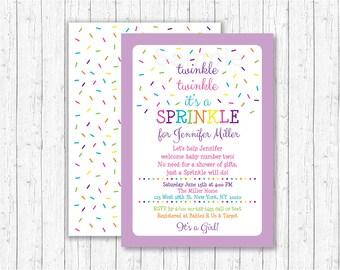 Cute Baby Sprinkle Invitation / Twinkle Twinkle Sprinkle / Rainbow Sprinkle Invite / Purple Baby Sprinkle / Baby Girl / PRINTABLE A114