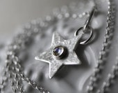 silver & moonstone star necklace ~ RESERVED 2/2 ~ perfect christmas gift for her, star jewelry, silver star and moonstone, Sale