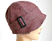 1920s Cloche Hat in Red and Black Wool - Red and Black Wool Cloche Hat - Made to Order